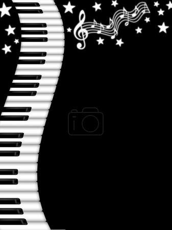 Photo pour Illustration de fond ondulé clavier piano noir et blanc - image libre de droit
