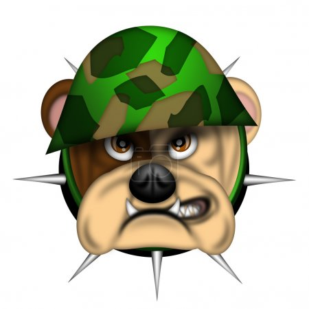 English Bull Dog Head with Army Helmet