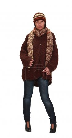 Photo for Young woman wearing knitwear clothes isolated against a white background. - Royalty Free Image