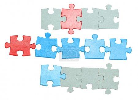 Photo pour Pièces de puzzle isolé sur fond blanc - image libre de droit