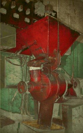 Photo pour Moulin à café rouge rétro fond texturé - image libre de droit