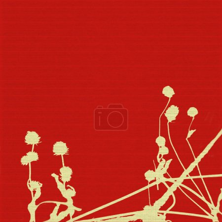 Seed heads and stems on red ribbed background