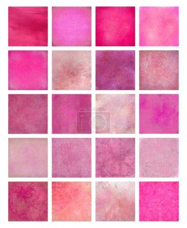 Photo pour Ensemble de fond texturé rose isolé avec chemin de coupe - image libre de droit