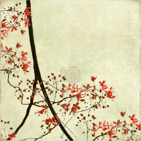 Photo pour Tangled Blossom Bordure sur papier antique et fond texturé de bambou - image libre de droit