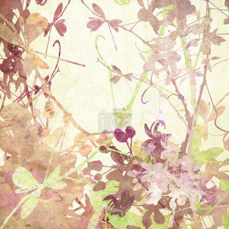 Photo pour Papillon pastel Fleurs Oeuvre d'art dans de nombreuses textures sur papier - image libre de droit