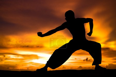 Photo for Image of a Martial Artist Practises at Sunset - Royalty Free Image