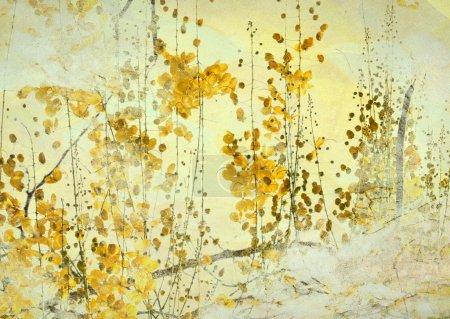 Photo pour Image d'un fond d'art Grunge fleur jaune - image libre de droit