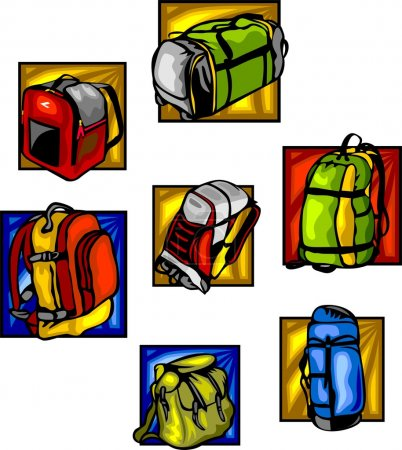 Bags and backpacks - vector set.