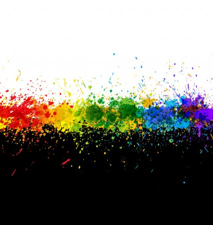 Illustration for Color paint splashes. Gradient vector background. Artwork template. - Royalty Free Image