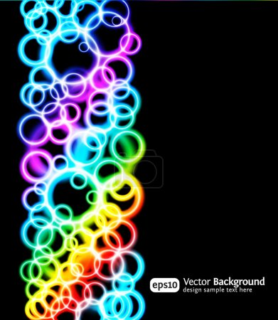 Illustration for Eps10 bright light effects blue background. Vertical illustration. Rainbow color. - Royalty Free Image