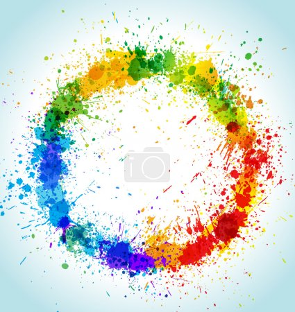 Illustration for Color paint splashes round background. Gradient vector frame. - Royalty Free Image
