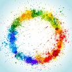 Color paint splashes round background. Gradient ve...