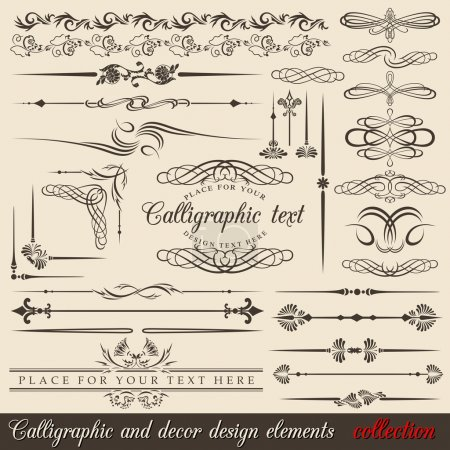 Photo for Calligraphic and decor design elements. Vector design corners, bars, swirls, frames and borders. Hand written retro feather symbols. - Royalty Free Image