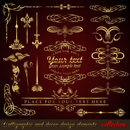 Photo for Gold calligraphic design elements. Vector design corners, bars, swirls, frames and borders. Hand written retro feather symbols. - Royalty Free Image
