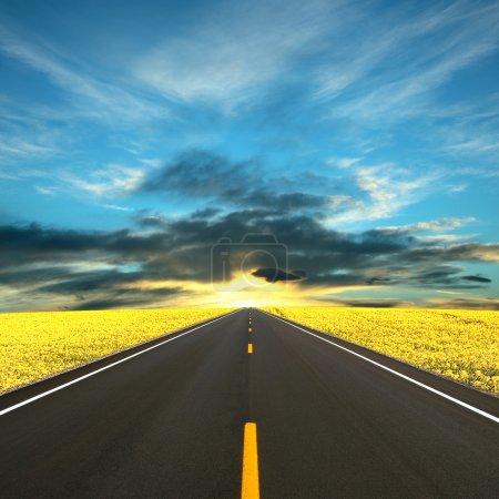 Photo pour Route vers le soleil - image libre de droit
