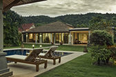 Panoramic view of nice tropic villa