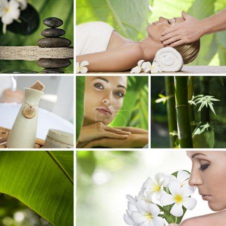 Photo pour Collage photo thème Spa composé de différentes images - image libre de droit