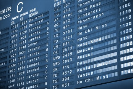 Close up view of airport time-table blue toned