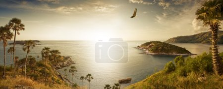 Photo for Panoramic view of nice tropic island during sunset - Royalty Free Image