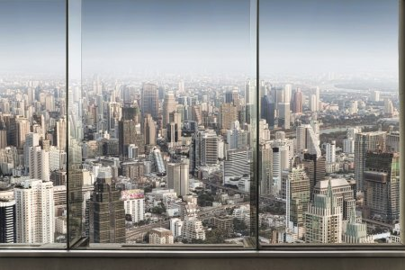 Photo for Panoramic view of window and nice big city - Royalty Free Image