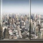 Panoramic view of window and nice big city...