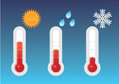 Three thermometers heat cold rain There is also a vector