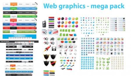 Illustration pour Une énorme collection de graphiques web - image libre de droit