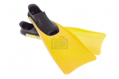 Photo for Yellow Flippers isolated on the white background - Royalty Free Image