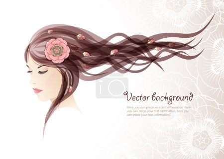 Illustration for Vector background. The girl with colors in hair - Royalty Free Image