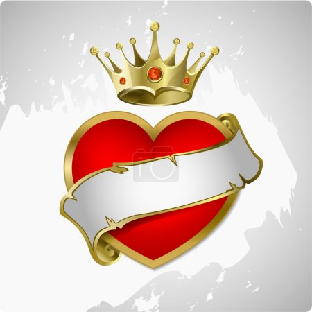 Red heart with a gold crown