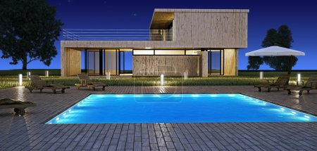 Photo for Modern house with swimming pool in night vision - Royalty Free Image