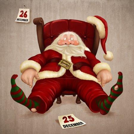 Photo pour Père Noël fatigué le lendemain de Noël - image libre de droit