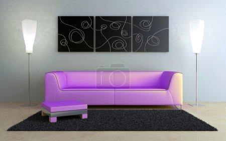 Photo pour Canapé moderne rose à l'intérieur lumineux de la maison - image libre de droit