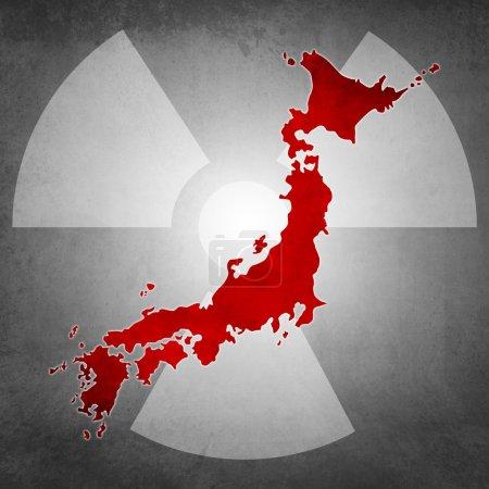 Photo pour Symbole d'icône pour l'urgence de radioactivité japonaise - image libre de droit