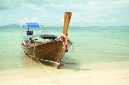 Photo for Beautiful long tail boat on the sand seashore on Thailand - Royalty Free Image