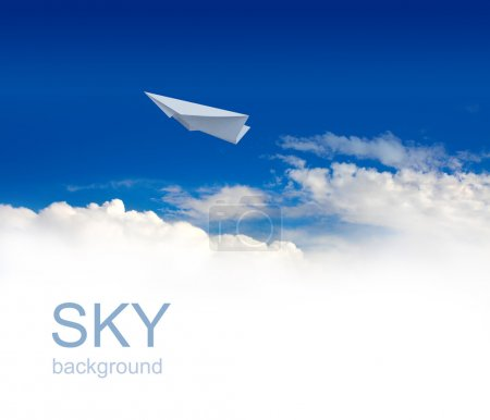 Photo for Paper planes in blue sky - Royalty Free Image