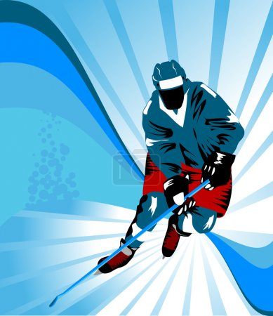 Photo for Hockey player makes a strong shot on goal rival; - Royalty Free Image