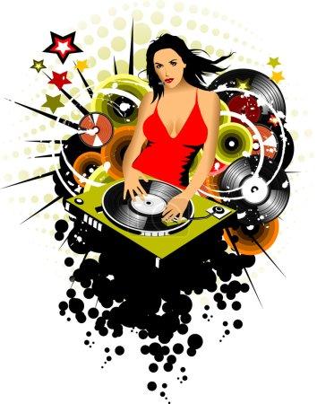 Photo pour Fille DJ tourne disque vinyle sur le lecteur de musique ; - image libre de droit