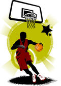 Basketball player in attack