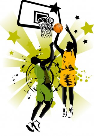 Photo for Player in basketball at the background of basketball rings (vector); - Royalty Free Image