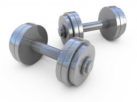 Photo for Chromed fitness exercise equipment dumbbells weight isolated on white - Royalty Free Image