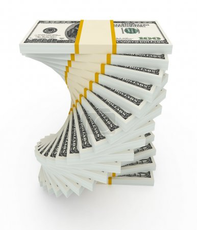 Photo pour Concept de croissance des revenus. Pile de dollar spirale isolée sur blanc - image libre de droit