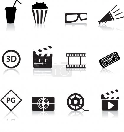 Photo for Movie, film and cinema, typical black silhouette icon buttons - Royalty Free Image
