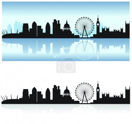 Illustration for London skyline including all the tourist attractions as a detailed black silhouette with the thames reflection - Royalty Free Image