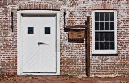 Foto de Una vieja tienda de Wheelwright en la aldea allaire, Nueva jersey. Allaire aldea era un pantano hierro industria pueblo en Nueva jersey a principios del siglo XIX. - Imagen libre de derechos