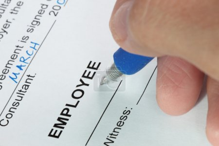 Photo for Contract signing of an employment contract close-up shot - Royalty Free Image