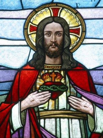 Foto de Sagrado corazón de Jesús, vidrieras - Imagen libre de derechos