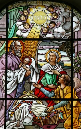 Photo for Nativity scene, stained glass - Royalty Free Image
