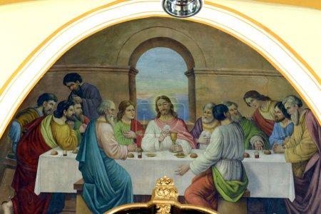 Foto de Última cena, fresco pintura en el techo de la iglesia - Imagen libre de derechos