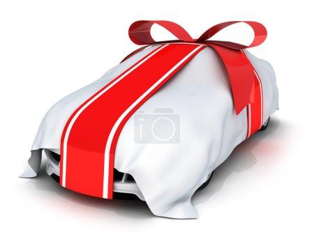 Photo pour Voiture cadeau et ruban rouge (fait en 3d, isolé ) - image libre de droit